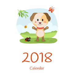 Cover calendar 2018 with dog happy new year vector