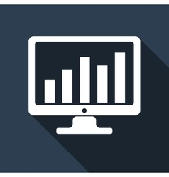 Display with business graph icon with long shadow vector image vector image