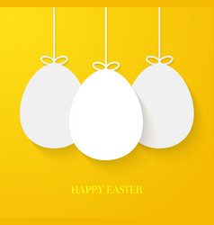 Easter greeting card with hanging paper eggs vector