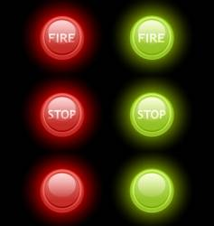 fire and stop buttons vector image vector image