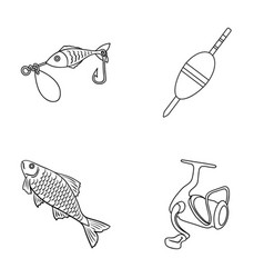 fishing fish catch hook fishing set collection vector image vector image