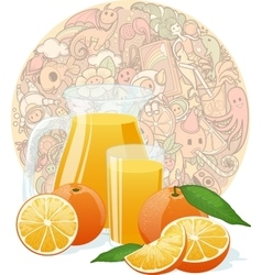 Fresh orange juice on funny doodles texture vector image