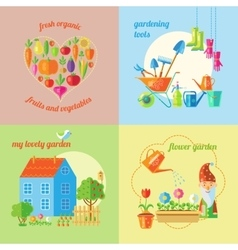 Garden Isolated Icon Set vector image vector image