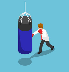 isometric businessman punch the blue punching bag vector image vector image