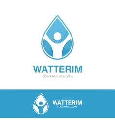 logo combination of a water drop and man vector image
