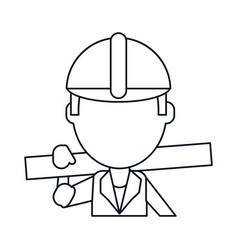 Man construction wooden board and tool belt thin vector