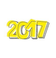 New Year 2017 hand drawn yellow sign isolated vector image vector image