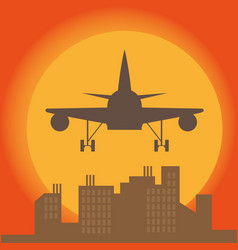 plane in front of big city silhouette flat style vector image