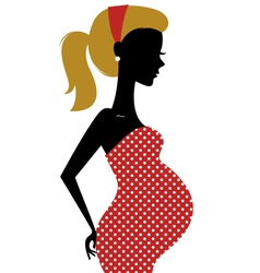 Retro pregnant woman in dotted dress vector image vector image