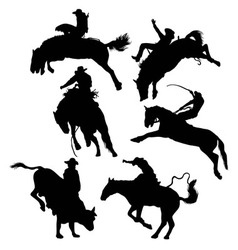 Rodeo Activity Silhouettes vector image vector image
