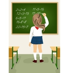 schoolgirl solving arithmetical on blackboard vector image