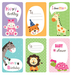 Set of baby shower cards with cute animals vector