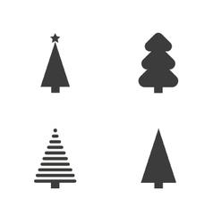 Set of monochrome christmas tree vector image