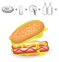 Simple hotdog recipe ingredients on white backgrou vector