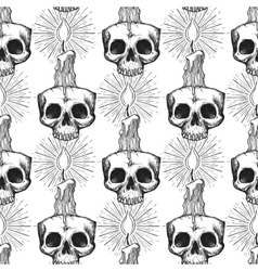 Skull and candle occult seamless pattern vector image vector image