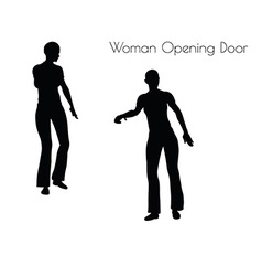 Woman opening door vector
