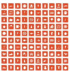 100 vegetarian cafe icons set grunge orange vector