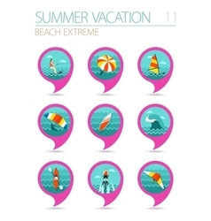 Extreme water sport pin map icon set vacation vector