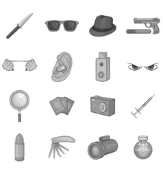 Spy and security icons set black monochrome style vector