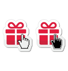 Red present icon with cursor hand vector image