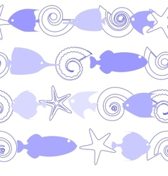 Seamless pattern with sea life on white vector image