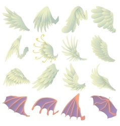 Different wings icons set cartoon style vector