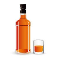 Bottle of alcohol drink and stemware whisky vector