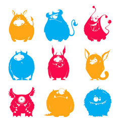 set of cartoon fluffy monsters vector image