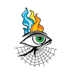 Angry eye with spiderweb tattoo cartoon theme art vector