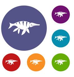 Aquatic dinosaur icons set vector