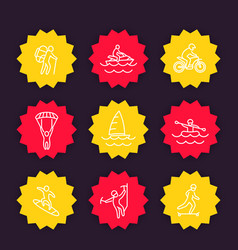 Extreme outdoor activities icons linear style vector