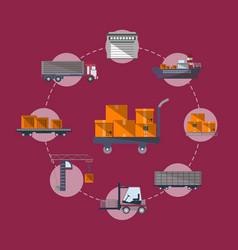 Worldwide commercial cargo shipping service vector