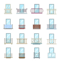 Balcony window forms icons set cartoon style vector