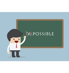 Businessman changing the word impossible into poss vector