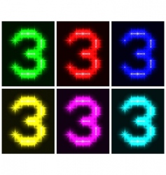 number 3 symbols  vector image
