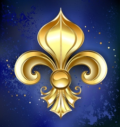 Gold fleur de lis on a blue background vector