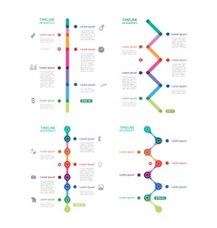 Set of colorful time line vector