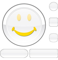 Smiley white button vector