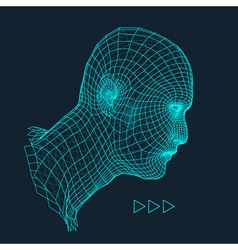 3d grid human head geometric face design vector
