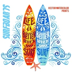 Set of watercolor surfboards vector