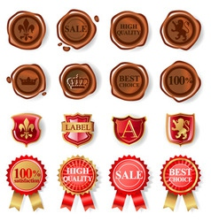 Wax seals set vector