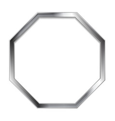 Abstract metallic silver blank hexagon frame vector