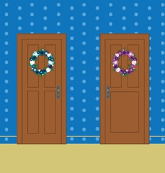 Wooden doors with flower wreaths vector