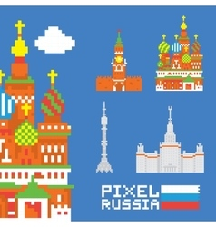 Pixel art isolated russia set vector