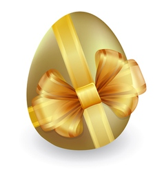 Gold easter egg tied with ribbon and bow vector