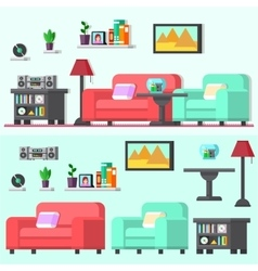 Modern living room with furniture vector