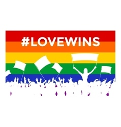 Lovewins lgbt cheering crowd vector