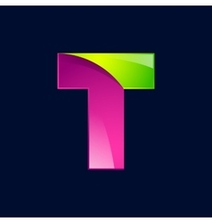 T letter green and pink logo design template vector