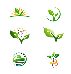 Agriculture farm plant grow logo set vector