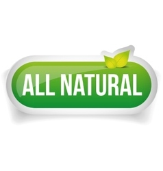 All natural button with leaves vector